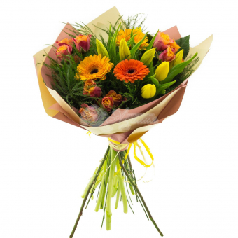 Смешанный букет из Гермини, Кустовой розы и зелени