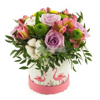 """Коробка  цветов  Фламинго """""""""""